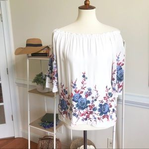 Drew embroidered off the shoulder blouse